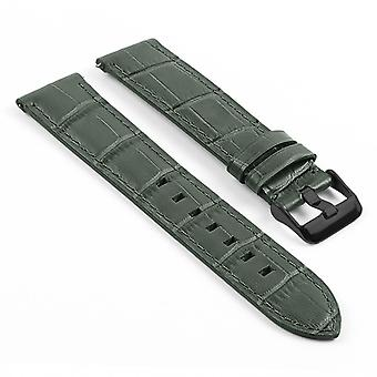 Strapsco dassari swl3 crocodile embossed italian leather quick release strap w/ matte black buckle