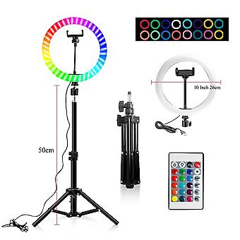 "10"" Rgb ring lamp with tripod stand and wireless remote, 16 light led colors"