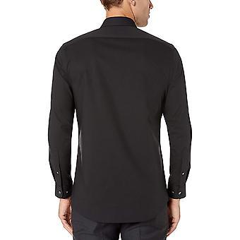 """Essentials Men&s Slim-Fit Wrinkle-Resistant Stretch Dress Shirt, Black, 18"""" Neck 36""""-37"""" Sleeve"""