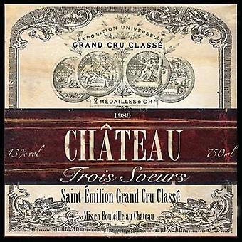 Grand Vin wijn etiket II Poster Print by Tre Sorelle Studios