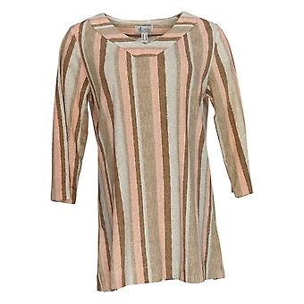 Denim & Co. Women's Top Regular 3/4 Sleeve Striped Tunic Brown A354145