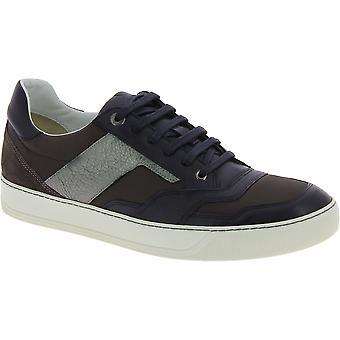 Lanvin men's lace up tênis em couro preto
