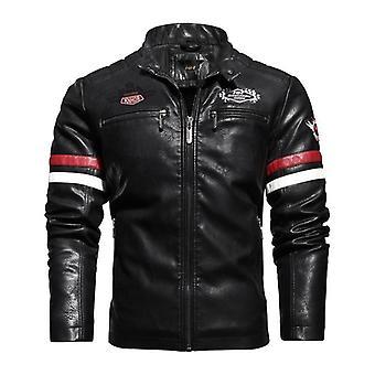 Men's Motorcycle Leather Jacket, Winter Thicken Fleece Coat, Biker Pu