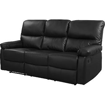 "Sofá reclinable 3 plazas ""Lincoln"" - Color negro"