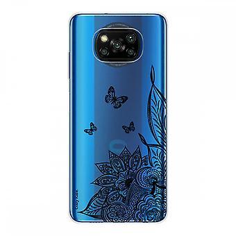 Kadłub dla Xiaomi Poco X3 NFC w silikonowym miękkim 1 mm, kwiatu mandali i czarnym motylu