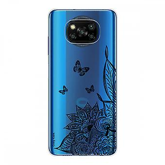 Casco para Xiaomi Poco x3 Nfc en silicona suave 1 mm, Mandala flor y mariposa negra