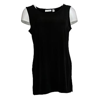 Susan Graver Women's Top Liquid Knit Tank Straight Bottom Hem Black A367241