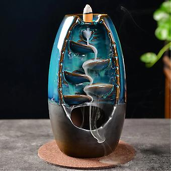 Minideal Aromatherapy Ornamental Incense Burner Waterfall Backflow - Backflow Incense Burner Feng Shui Decor Ornament Light Blue