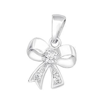 Bow - 925 Sterling Silver Jewelled Pendants - W15178x