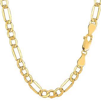 "14k Yellow Gold Hollow Figaro Chain Bracelet, 5.4mm, 8.5"""