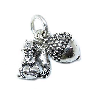 Tiny Squirrel & Acorn Sterling Silver Charm .925 X 1 Eichhörnchen Eicheln - 8656