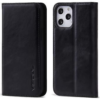 VISOUL Case for iPhone 12 Pro/iPhone 12 Case, Genuine Leather Magnetic Closure Book Stand