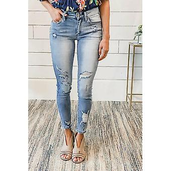 Women's Blue Distressed Mid Rise Jeans