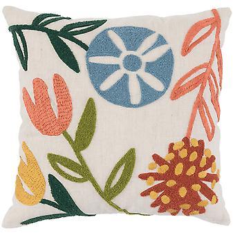 Almohada de lanzamiento envuelta en tela con patrón floral tejida a mano, multicolor