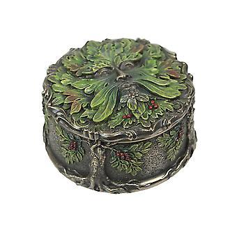 Keltische grüne Mann Ernte Beere Metallic Bronze fertig Schmuckkästchen