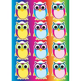 Die-Cut Magnetic Colorful Owls, 12 Pieces