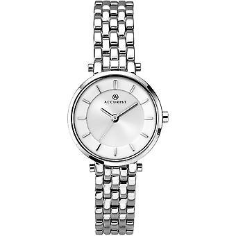 Accurist 8006 London Bílé a stříbrné dámské hodinky z nerezové oceli