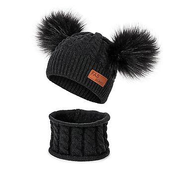 Winter Hat Scarf Set  Cotton Warm Pom Poms Hat Sets