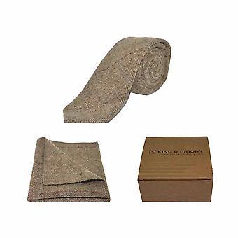 Herringbone de lujo marrón tweed corbata & Conjunto Pocket Square | Caja