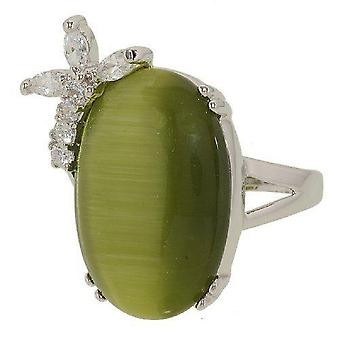 Dusty Olive Green Cat Eye Big Oval Clear Stones Ring