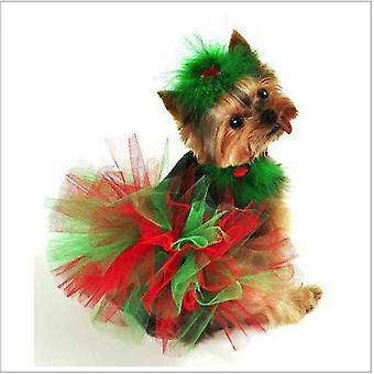 Red And Green Christmas Dog Tutu Skirt | Xs-xxxl