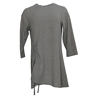DG2 By Diane Gilman Women's Sweater Cinched Side Swing Hem Gray 731071