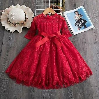 Red Kids Dresses For Flower Lace Tulle Dress Autumn Clothing