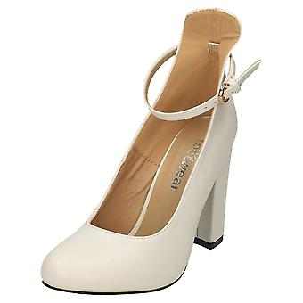 Koi Footwear High Block Heel Ankle Strap Court Shoes White