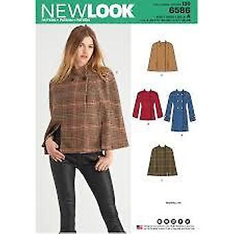 New Look Sewing Pattern 6586 Misses Poncho Coat Size 8-20