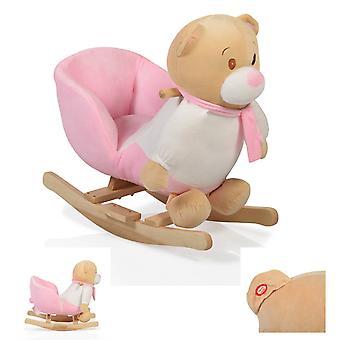 Ours à bascule en peluche rose WJ-635 avec poignées en bois de 12 mois