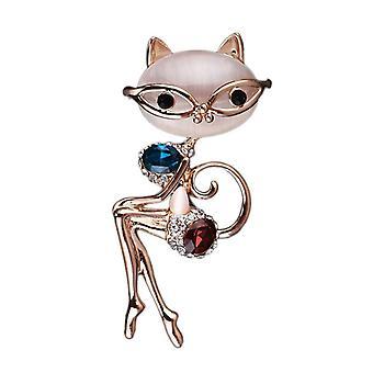 Sexy mačka brošňa zvieracie šperky modrý kryštál fialový drahokamu Opal kolíky