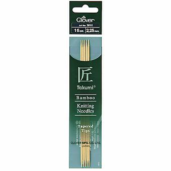 Clover Knitting Pins: Double-Ended: Set of Five: Takumi Bamboo: 16cm x 2.25mm