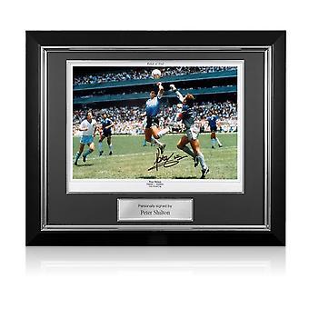 Peter Shilton firmó la foto de Inglaterra: La mano de Dios. Marco de lujo