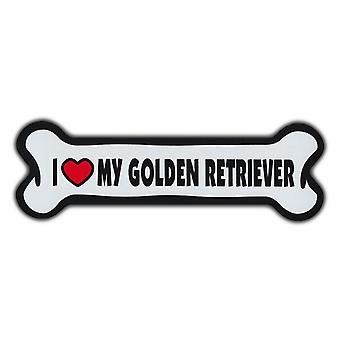 "Magnet, Giant Size Dog Bone, I Love My Golden Retriever, 10"" X 3"""