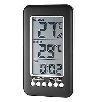LCD °C/°F Compteur numérique sans fil de température d'horloge d'horloge d'intérieur/extérieur avec l'émetteur