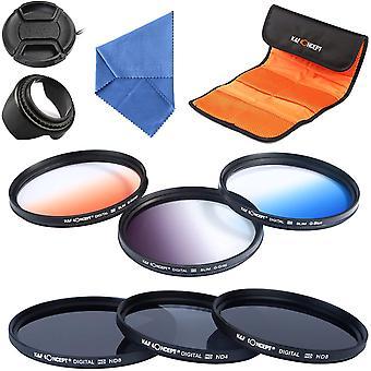 Wokex K & F Concept Set mit 6 Filtern (ND2 Neutral Grey ND4 ND8 + Graduierte Farbe Orange/Blau/Grau)