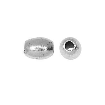 Perle métallique, canon 8mm, argent antique, 2 pièces, par Nunn Design