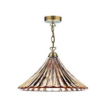 DAR ARDECHE Dome Stort anheng Lys Gult Glass & Antikk Messing, 1x E27
