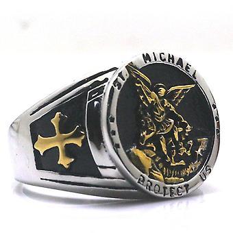 St. michael schützen uns gold Silber ring