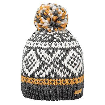 Barts Log Cabin Bobble Hat in Dark Heather