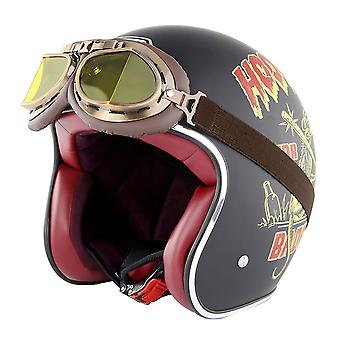 Summer Open-face 3/4 Adult Retro Motorcycle Helmets With Goggles (Retro Black)