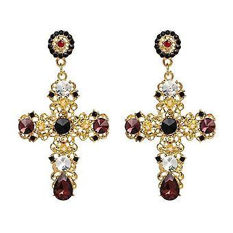 Vintage Boho Crystal Cross Drop Pendientes para mujeres barrocas bohemias grandes joyas largas