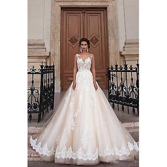 Illusion Wedding Dresses Long Lace Applique