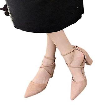 Chubby Lace Suede Shoes For Women