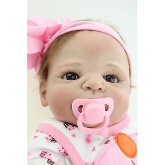 Pånyttfödda babydockor Docka Mjukt Silikon 57cm Verklighetstrogen Nyfödd Docka Flicka gåva