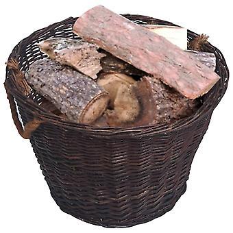 vidaXL 3 pezzi. Set cestino legna da ardere impilabile Salice marrone scuro