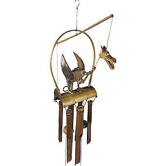 Carillon de vent de dragon en bois