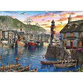 Ravensburgerin auringonnousu Port Jigsaw Puzzlessa (500 kappaletta)