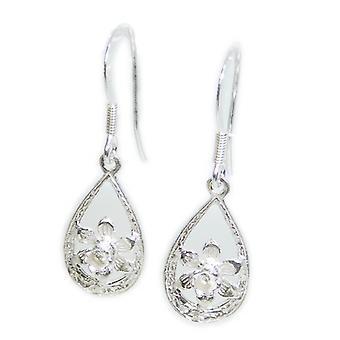 Daffodil Flower Sterling Silver Earrings .925 X 1 Pair Daffodils Dangle Earrings - 15410