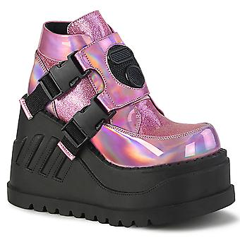 Demonia Women's Boots STOMP-15 Hologramme rose-Glitter